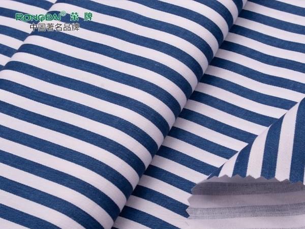 C40/133X72纯棉0.5CM蓝白条印花医护面料