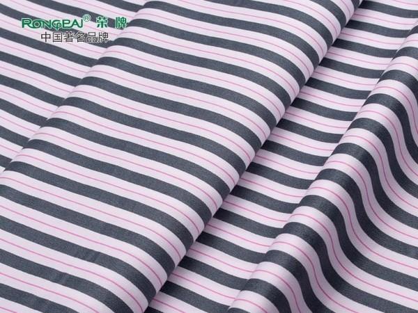 C40/133X72全棉 灰条红细线 印花床品医护面料
