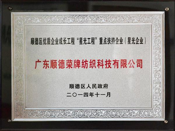 """荣牌-2012年获顺德政府颁发""""星光企业""""称号"""