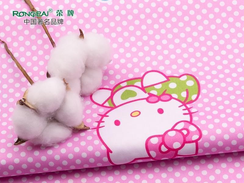 C40/133X72纯棉KT猫粉红印花床品医护面料